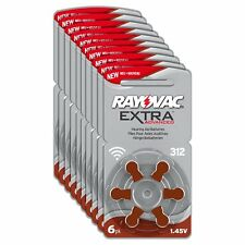 Rayovac Extra Advanced Zinc Air Hearing Aid Batteries Size 312 Brown Varta Tab