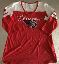 Chicago Fire Ladies Baby Doll V-neck Soccer Raglan Shirt Medium White Red MLS