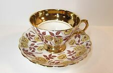 VINTAGE ROSINA BONE CHINA CUP SAUCER YELLOW ROSES HEAVY GOLD TRIM FOOTED CUP