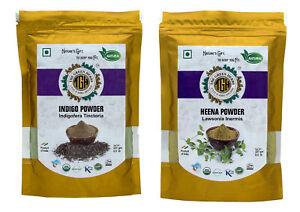 Premium Quality Organic Henna & Indigo Leaf Powder Herbal Hair Color 0.5 lb