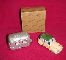 Vtg Vandor 1992 Salt and Pepper Shaker Set Panel Wagon Car Auto Camp Trailer New