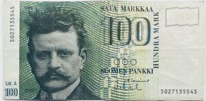 1986 FINDLANDS BANK 100 MARK/MARKKA SUOMEN PANKKI FINLAND FINISH BANKNOTE PRE-EU
