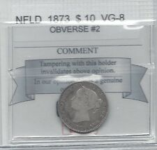**1873 Obv.#2**,Coin Mart Graded, Newfoundland Ten Cent, **VG-8**