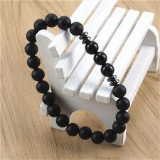 Fashion Mens Black Tourmaline Matte Agate Stone Yoga Beaded Stretch Bracelet