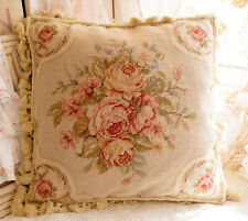 """16"""" Shabby Chic Victorian Hand Crafted Vintage Rose Needlepoint Pillow Cushion"""