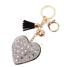 Schlüsselanhänger Herz mit Strass schwarz/weiß