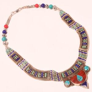 "Tibetan Turquoise Red Coral Lapis Lazuli Jewelry Nepali Necklace 18"" PUS-687"
