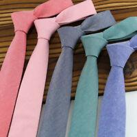 Mens Cotton Line TIE Plain Wedding Slim Necktie Formal Casual Narrow Party ties