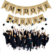 """Im Done"" 2019 Flag Hanging Bunting Garland DIY Graduation Party Banner Decor"