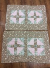 PATCHWORK FLORAL SHAMS SET OF 2 STANDARD BROWN PINK GREEN HANDMADE COUNTRY CUTE!