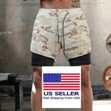 Men's 2in1 Running Shorts with Phone Pockets Quick Dry Workout Fitness Park Gym1