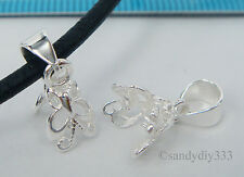 1x STERLING SILVER BRIGHT BUTTERFLY PENDANT PIN BAIL CLASP 3.6 mm cord #2150E