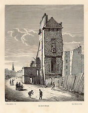PARIS LA TOUR BICHAT TOWER GRAVURE 1884 ENGRAVING
