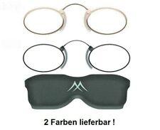 Lesebrille Kneifer/Zwicker Gold oder Schwarz mit Etui + Kordel Lesehilfe Unisex