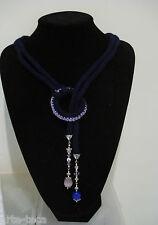 collana lana cotta cristallo charms pietre dure blu viola pendoli bigiotteria