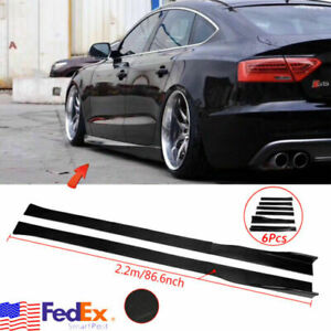 Gloss Black Side Skirts Rocker Panel Splitters Lip For AUDI A3 A4 A5 A6 86.6''