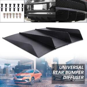 "Universal Rear Diffuser Lower Splitter Fins Underbody Assembly Black ABS 22""X20"""