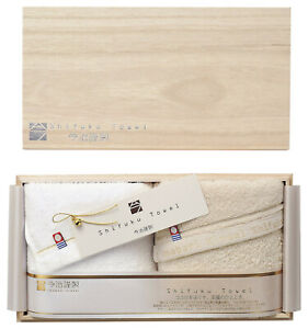 IMABARI KINSEI Shifuku Face Towel White&Beige 2pcs with Wooden Box Made in Japan