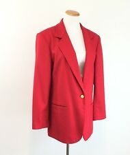 GILMOR Long Red Blazer Wool Blend Jacket Fully Lined Great Look Women's Size M