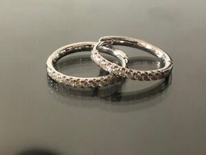 0.30 Ct Round Diamond Hoop Earrings White Gold Sparkly