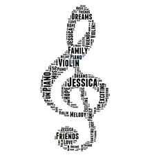 Personalised Music Treble Clef Word Art Print Great Gift Son Daughter Music Gift