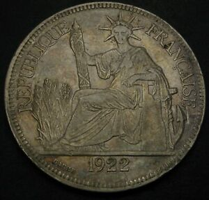 FRENCH INDO CHINA 1 Piastre 1922 H - Silver - VF - 1500