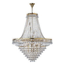 Versailles Gold 19 Light Ceiling Chandelier Pendant Fitting Trimmed With Crystal