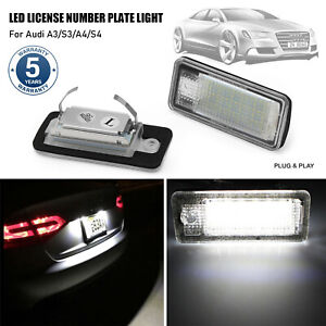 2Pcs LED License Number Plate Light CANBUS Error Free For Audi S3 A3 S4 A4 A6 A8