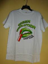 Carpisa Green Revolution T Shirt Tee White Green Lips Size XL Cotton