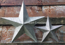 "GALVANIZED PATINA PRIMITIVE BARN STARS 12"" & 8""  RUSTIC COUNTRY AMERICAN DECOR"