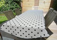 Tischdecke Provence 150x240 cm oval weiß Punkte schwarz Frankreich, pflegeleicht