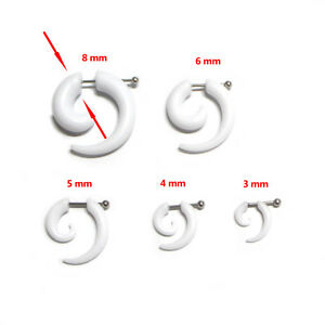Punk Pair Acrylic Spiral Horn Gauge Fake Cheater Stretcher Ear Plug Earrings