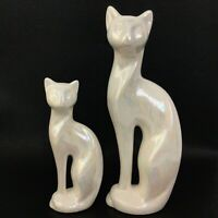 MCM Iridescent Cat Statue Figurine Mid Century Pair Ceramic Family Set Lot