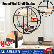 4 Tier Industrial Style Craft Round Wall Shelf Display Rack Storage Home Decor