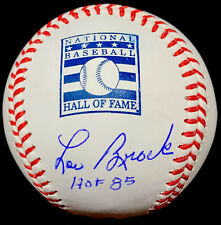 Lou Brock HOF 85 JSA St. Louis Cardinals HOF Logo Autographed Baseball Authentic