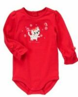 Gymboree Cozy Kitty 3-6-12 mo Red Cat One-piece Bodysuit Holiday 13