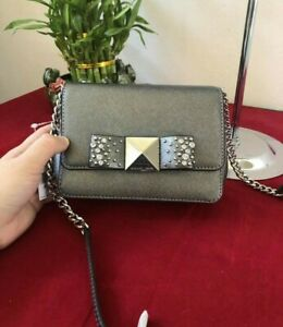 US BOUGHT Michael Kors Tina Small Silver Bow Clutch Crossbody Bag Purse Leather