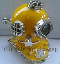"Brass Morse Vintage Scuba Helmet Divers Yellow Diving Helmet Full Size 18"" Sea"