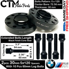 2PC BLACK 30MM THICK BMW 5X120 72.56 BORE WHEEL SPACER + 12x1.5 CONE SEAT BOLTS