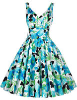 Belle Poque Women's Blue Floral Pin-Up Rockabilly Retro Swing Dress Size Medium