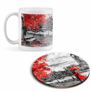 Mug & Round Coaster Set - Romantic Couple London Big Ben   #21172