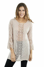 Women's Top Johnny Was Embroidered Eyelet Long Sleeve Tunic  Retail$218 #C83783