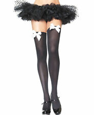 Long BLACK OPAQUE SOCKS Knee/Thigh High with WHITE BOWS COSTUME FAST FREE POST