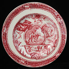 Allerton Little Mae Childs Country Red Plate Newfy Dog Staffordshire 1880