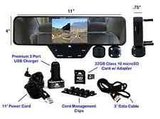 """Falcon 1080p HD 3.5"""" LCD CAR DVR Dual Dash Cam Rear View Mirror 32GB SD Card (Bl"""