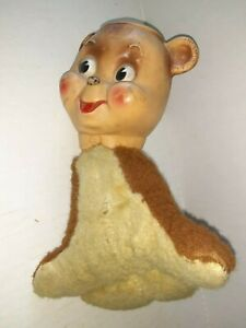 """Vintage Seal Stuffed Animal With Rubber Head 9"""" Circus Seal 1960 Rushton?"""