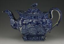 Antique Pottery Pearlware Blue Transfer Shell Patter Large Tea Pot & Cover 1825