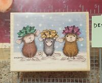 RETIRED Stampabilities Wrapped and Ready Christmas Mouse Mice Stamp Cute.