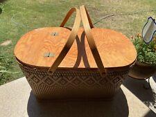 "Vintage Red Man Wicker Picnic Basket Hinged Lid Wooden Handles 21"" x 13"" x 12"""