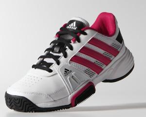 Adidas Girls Barricade Team 3 XJ Tennis Shoes - White/Bold Pink
